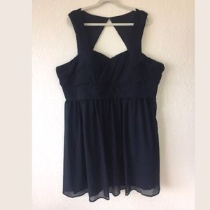 Mod cloth navy blue chiffon cocktail dress